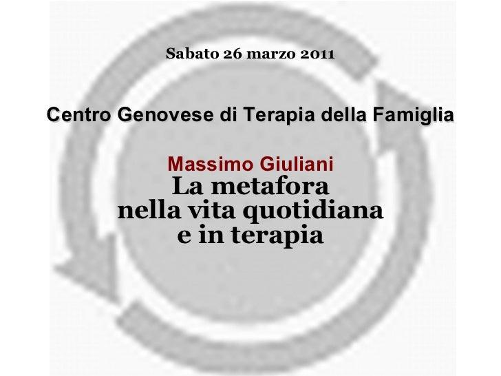 Sabato 26 marzo 2011 Centro Genovese di Terapia della Famiglia Massimo Giuliani La metafora nella vita quotidiana e in ter...