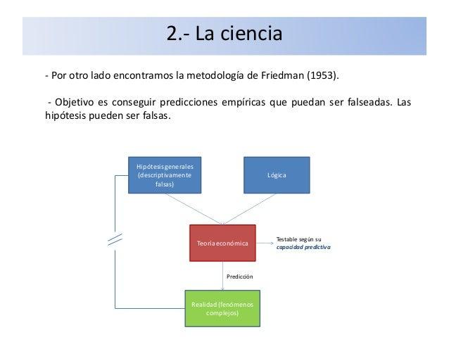 2.- La ciencia - Por otro lado encontramos la metodología de Friedman (1953). - Objetivo es conseguir predicciones empíric...