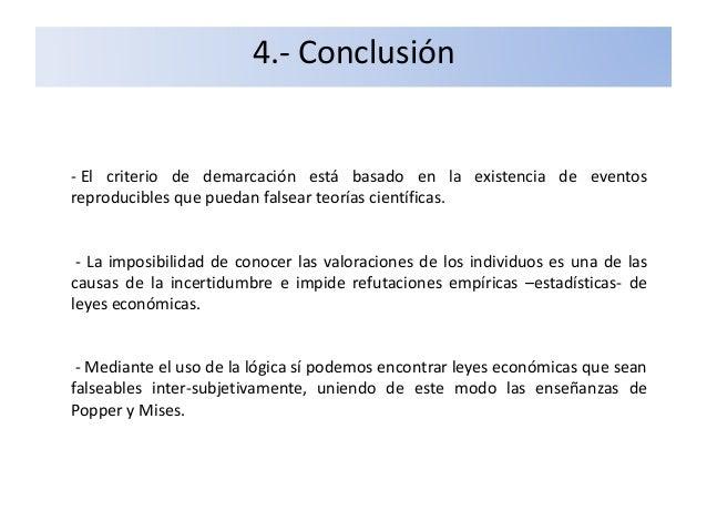 4.- Conclusión - El criterio de demarcación está basado en la existencia de eventos reproducibles que puedan falsear teorí...