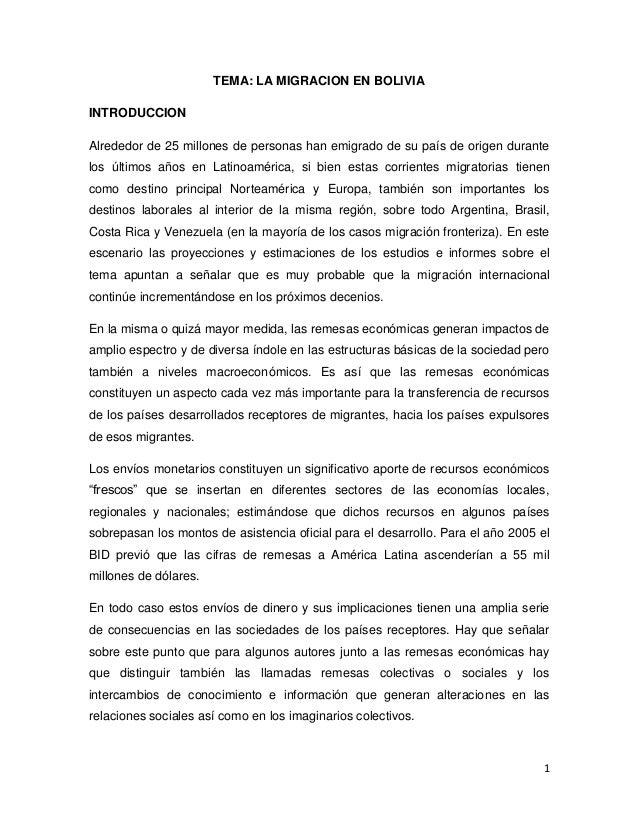 1 TEMA: LA MIGRACION EN BOLIVIA INTRODUCCION Alrededor de 25 millones de personas han emigrado de su país de origen durant...