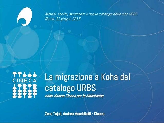 www.cineca.it La migrazione a Koha del catalogo URBS nella visione Cineca per le biblioteche Metodi, scelte, strumenti: il...