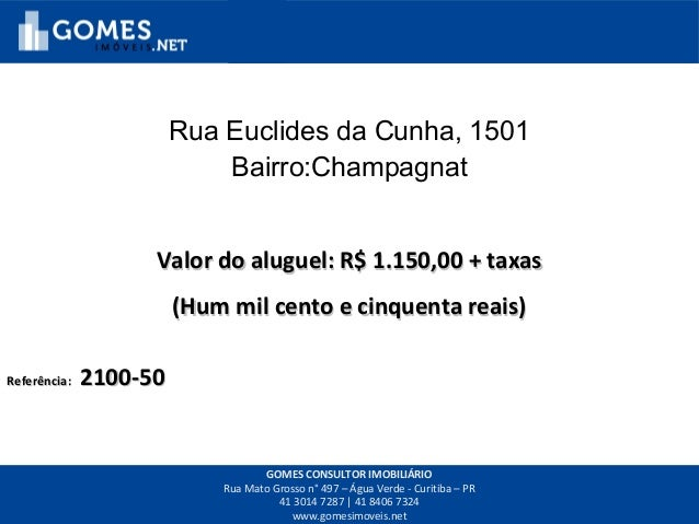 Rua Euclides da Cunha, 1501 Bairro:Champagnat Valor do aluguel: R$ 1.150,00 + taxasValor do aluguel: R$ 1.150,00 + taxas (...