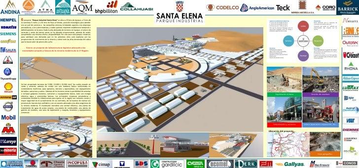 """El proyecto """"Parque Industrial Santa Elena"""" se ubica a 70 kms de Iquique, a 5 kms dela carretera 5 norte y a 20 kms de Poz..."""