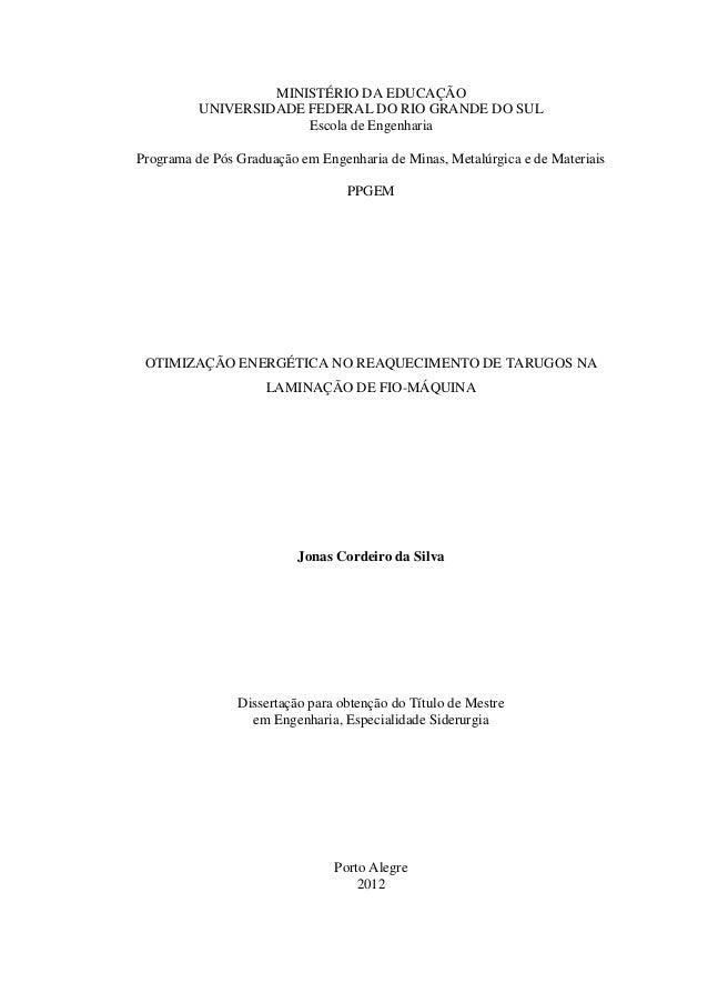 MINISTÉRIO DA EDUCAÇÃO          UNIVERSIDADE FEDERAL DO RIO GRANDE DO SUL                       Escola de EngenhariaProgra...