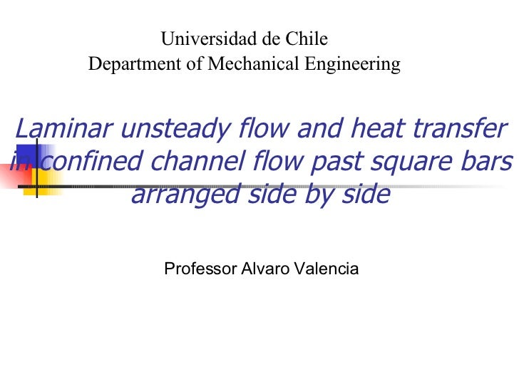 Laminar unsteady flow and heat transfer in confined channel flow past square bars arranged side by side Professor Alvaro V...