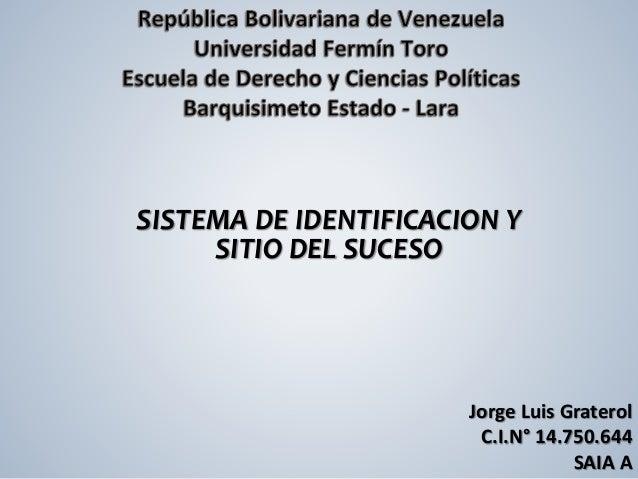 Jorge Luis Graterol  C.I.N° 14.750.644  SAIA A  SISTEMA DE IDENTIFICACION Y  SITIO DEL SUCESO