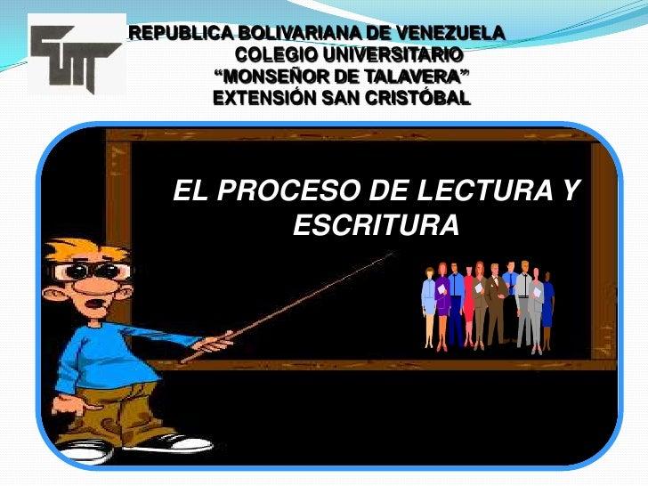 """REPUBLICA BOLIVARIANA DE VENEZUELA             COLEGIO UNIVERSITARIO          """"MONSEÑOR DE TALAVERA""""          EXTENSIÓN SA..."""