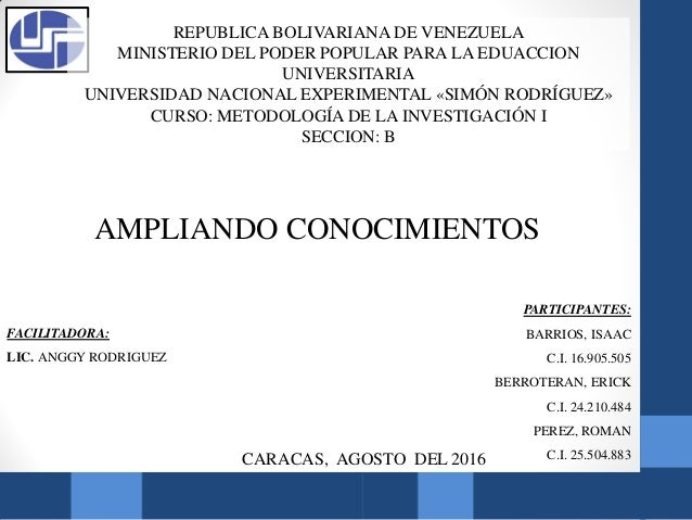 REPUBLICA BOLIVARIANA DE VENEZUELA MINISTERIO DEL PODER POPULAR PARA LA EDUACCION UNIVERSITARIA UNIVERSIDAD NACIONAL EXPER...