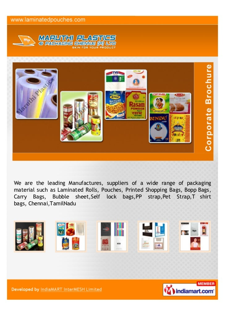 We are the leading Manufactures, suppliers of a wide range of packagingmaterial such as Laminated Rolls, Pouches, Printed ...