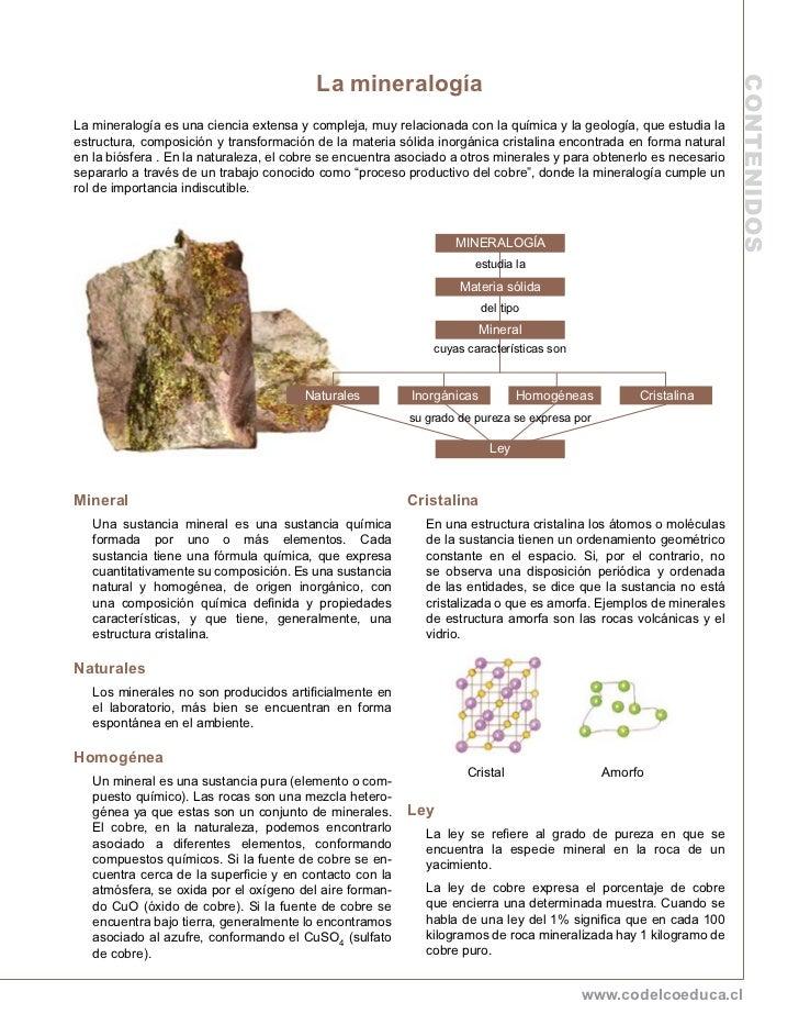 La mineralogía                                                                                                            ...