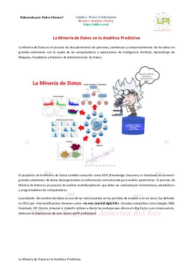 Elaborado por: Pedro Ch�vez F. Limitless Power of Information Business Analytics Society https://addkw.com/ La Miner�a de ...