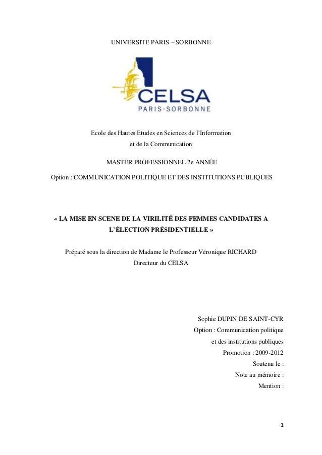 UNIVERSITE PARIS – SORBONNE            Ecole des Hautes Etudes en Sciences de l'Information                          et de...