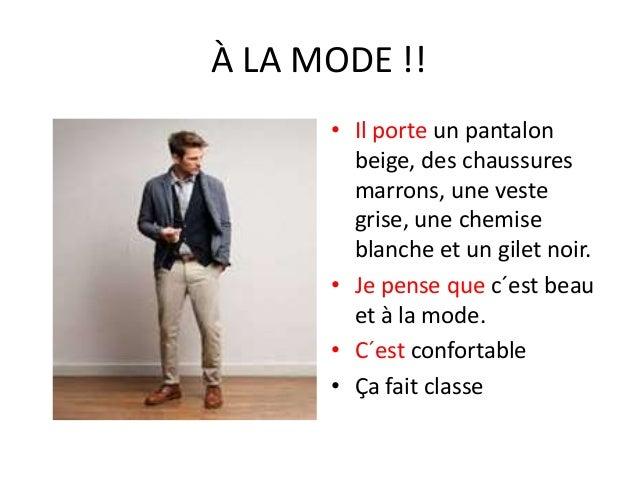 À LA MODE !! • Il porte un pantalon beige, des chaussures marrons, une veste grise, une chemise blanche et un gilet noir. ...