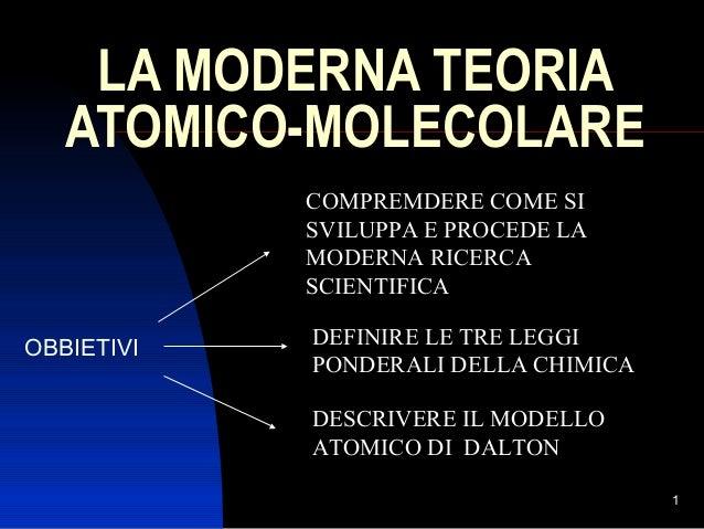 LA MODERNA TEORIA ATOMICO-MOLECOLARE COMPREMDERE COME SI SVILUPPA E PROCEDE LA MODERNA RICERCA SCIENTIFICA OBBIETIVI  DEFI...