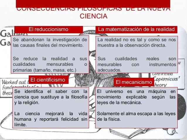 CONSECUENCIAS FILOSÓFICAS DE LA NUEVA                CIENCIA       El reduccionismo                La matematización de la...