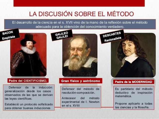 LA DISCUSIÓN SOBRE EL MÉTODO       El desarrollo de la ciencia en el s. XVII vino de la mano de la reflexión sobre el méto...