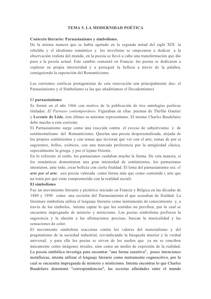 TEMA 5. LA MODERNIDAD POÉTICAContexto literario: Parnasianismo y simbolismo.De la misma manera que se había agotado en la ...