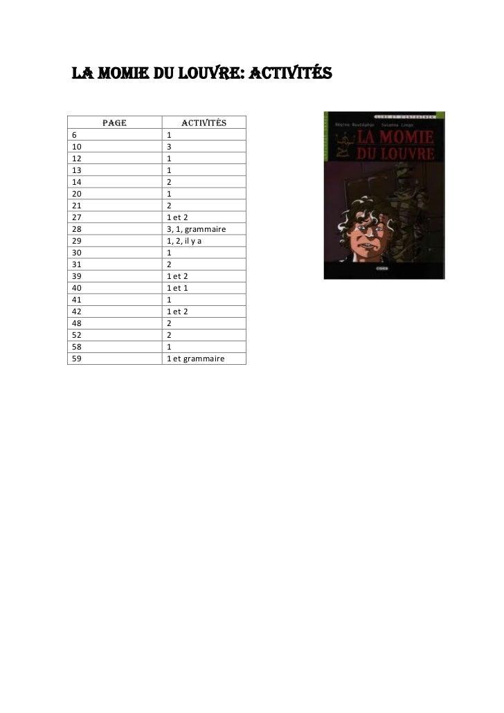 LA MOMIE DU LOUVRE: ACTIVITÉS     PAGE       ACTIVITÉS6           110          312          113          114          220 ...