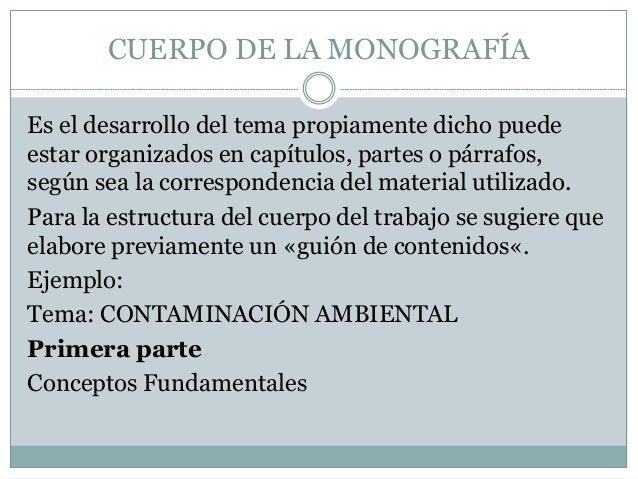 La Monografia estructura