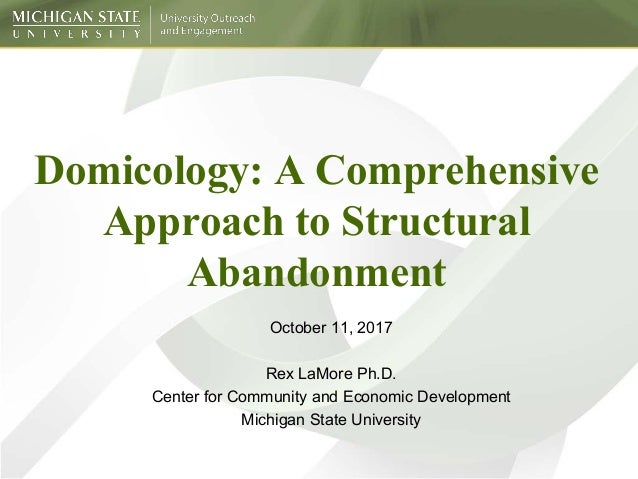 Domicology: A Comprehensive Approach to Structural Abandonment October 11, 2017 Rex LaMore Ph.D. Center for Community and ...
