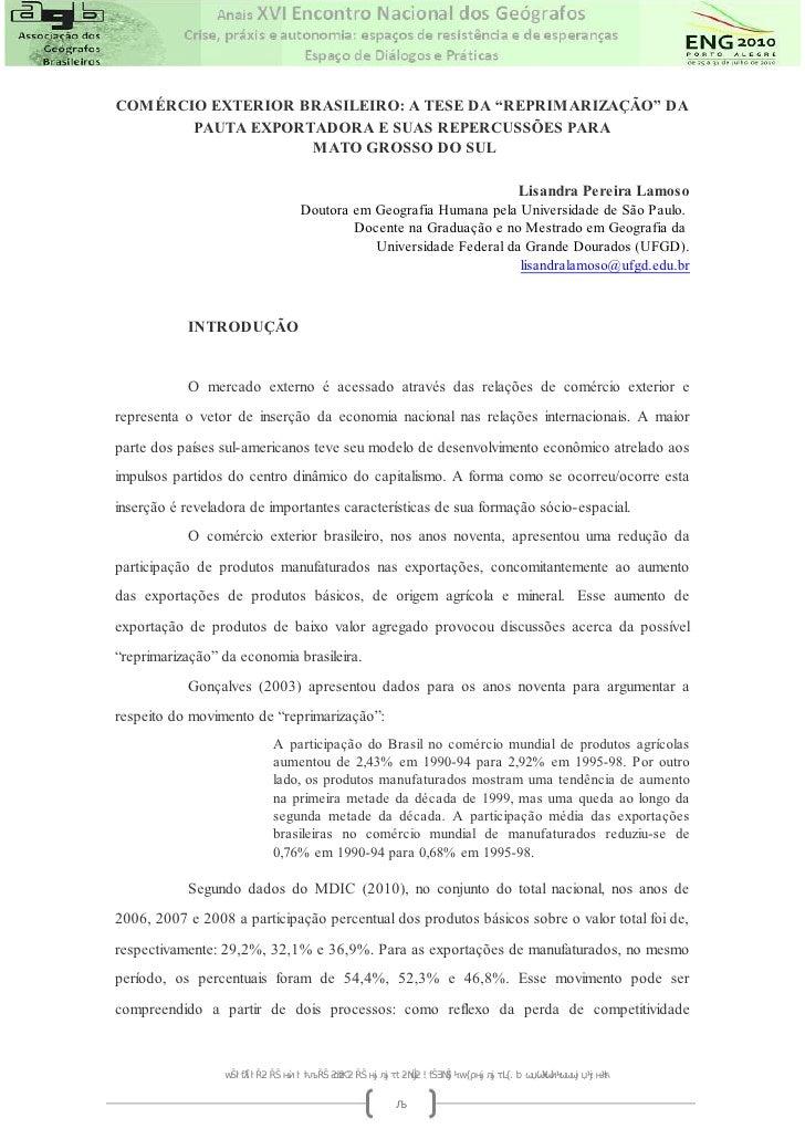 Lamoso com rcio exterior brasileiro e a tese da for Docente comercio exterior