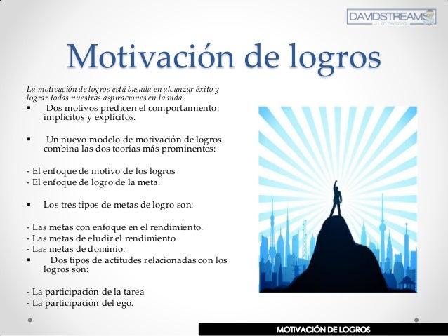 Motivación de logros La motivación de logros está basada en alcanzar éxito y lograr todas nuestras aspiraciones en la vida...