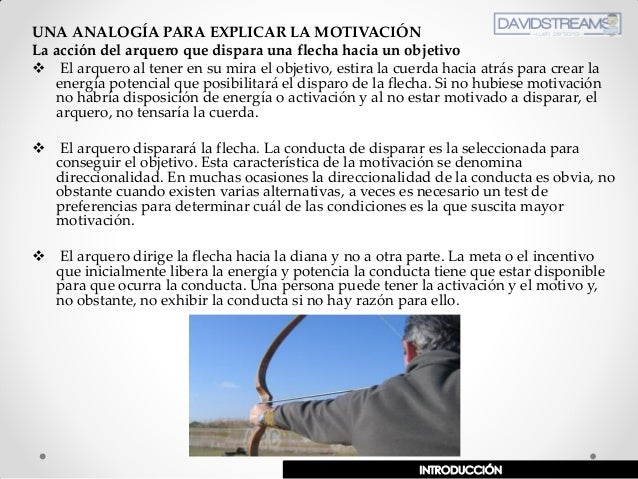 UNA ANALOGÍA PARA EXPLICAR LA MOTIVACIÓN La acción del arquero que dispara una flecha hacia un objetivo  El arquero al te...
