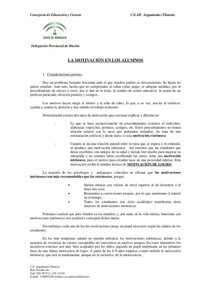 Consejería de Educación y Ciencia                                          C.E.I.P. Argantonio (Tharsis)Delegación Provinc...