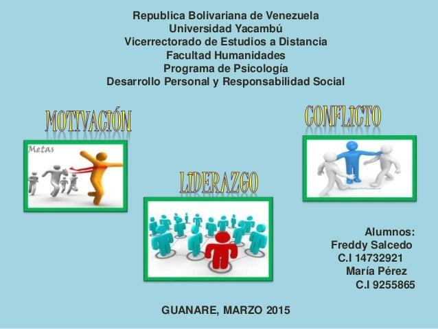 Republica Bolivariana de Venezuela Universidad Yacambú Vicerrectorado de Estudios a Distancia Facultad Humanidades Program...