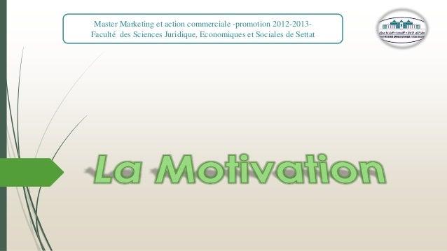 Master Marketing et action commerciale -promotion 2012-2013Faculté des Sciences Juridique, Economiques et Sociales de Sett...