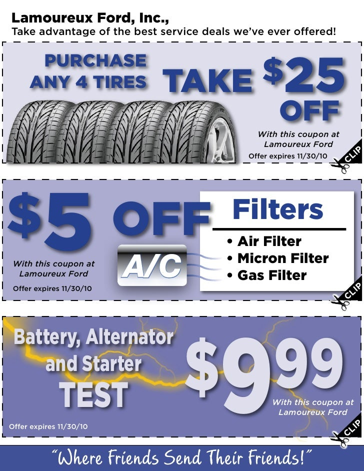 Lamoureux Ford, Inc., Take advantage of the best service deals we've ever offered!        PURCHASE      ANY 4 TIRES       ...