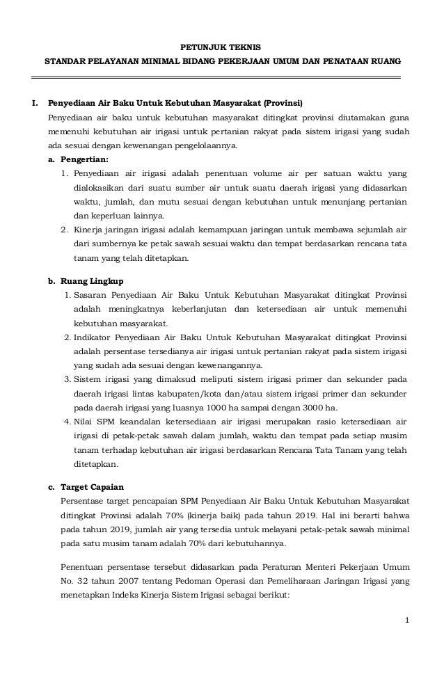 1  PETUNJUK TEKNIS  STANDAR PELAYANAN MINIMAL BIDANG PEKERJAAN UMUM DAN PENATAAN RUANG  I. Penyediaan Air Baku Untuk Kebut...