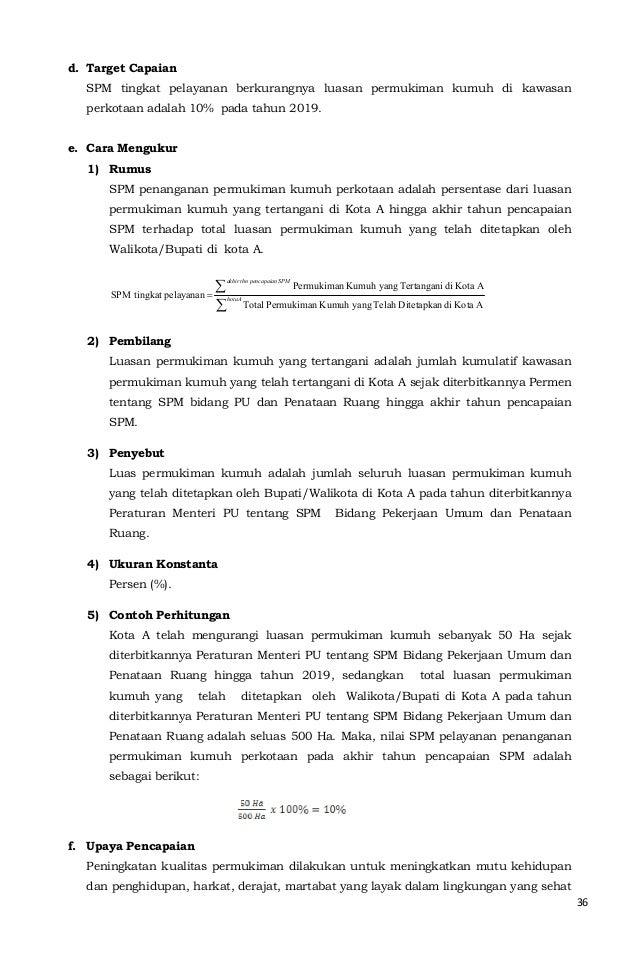 36  SPM tingkat pelayanan berkurangnya luasan permukiman kumuh di kawasan  perkotaan adalah 10% pada tahun 2019.  SPM pena...