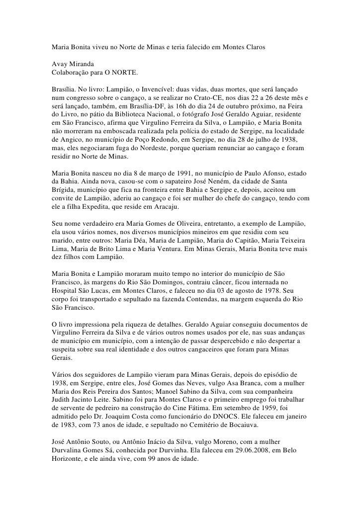 Maria Bonita viveu no Norte de Minas e teria falecido em Montes Claros  Avay Miranda Colaboração para O NORTE.  Brasília. ...