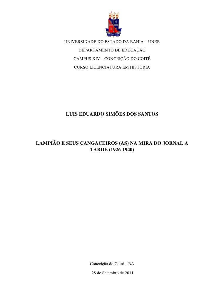 l         UNIVERSIDADE DO ESTADO DA BAHIA – UNEB              DEPARTAMENTO DE EDUCAÇÃO            CAMPUS XIV – CONCEIÇÃO D...