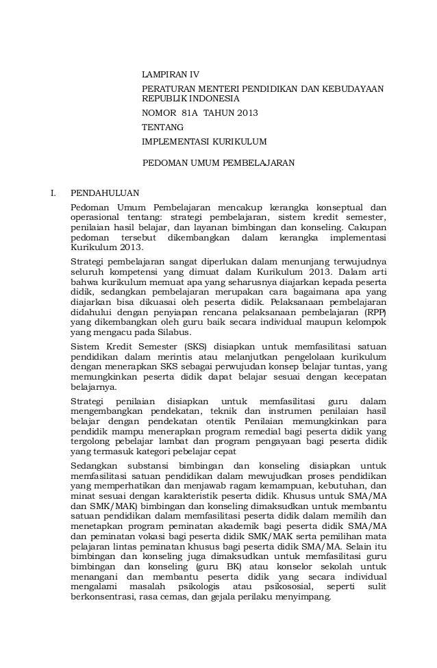 LAMPIRAN IV PERATURAN MENTERI PENDIDIKAN DAN KEBUDAYAAN REPUBLIK INDONESIA NOMOR 81A TAHUN 2013 TENTANG IMPLEMENTASI KURIK...