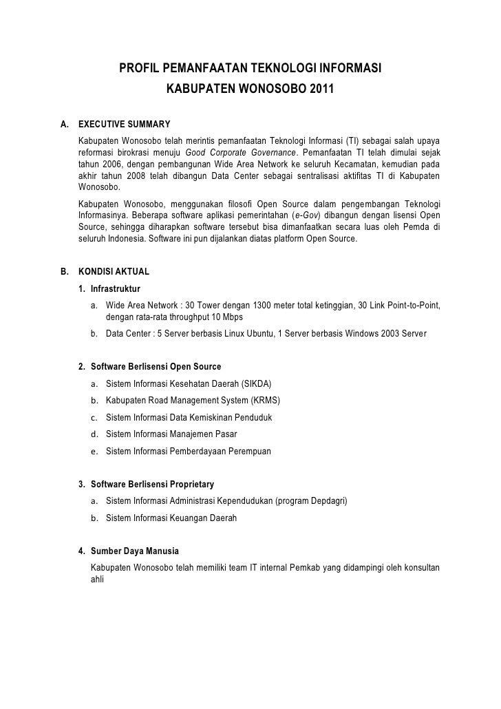 PROFIL PEMANFAATAN TEKNOLOGI INFORMASI                         KABUPATEN WONOSOBO 2011A. EXECUTIVE SUMMARY   Kabupaten Won...