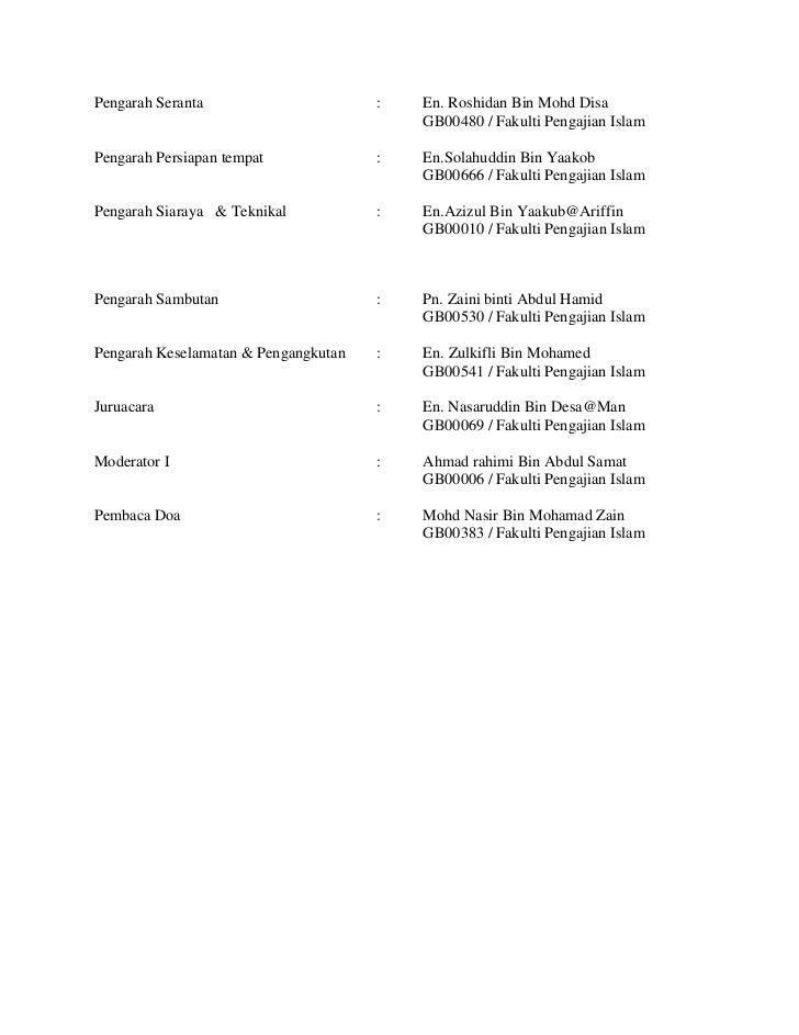 Senarai Nama Ajk Pengarah Program