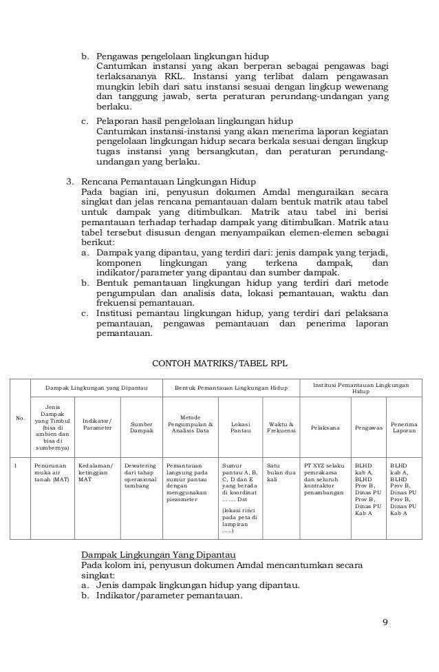 Contoh Laporan Pelaksanaan Rkl Dan Rpl Kumpulan Contoh Laporan