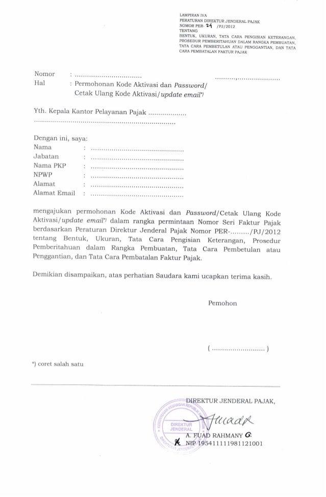 Permohonan Kode Aktivasi Dan Password Lampiran Iva Per 24 Pj 2012