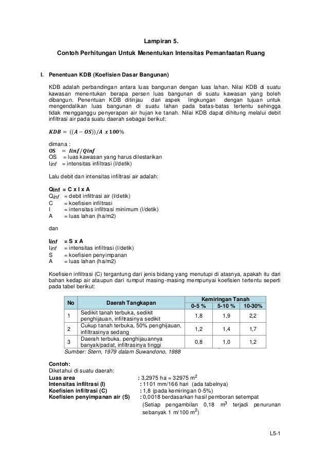 Lampiran 5. Contoh Perhitungan Untuk Menentukan Intensitas Pemanfaatan Ruang  I. Penentuan KDB (Koefisien Dasar Bangunan) ...