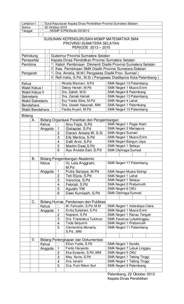 Lampiran I Nomor Tanggal  : : :  Surat Keputusan Kepala Dinas Pendidikan Provinsi Sumatera Selatan 22 Oktober 2013 ....../...