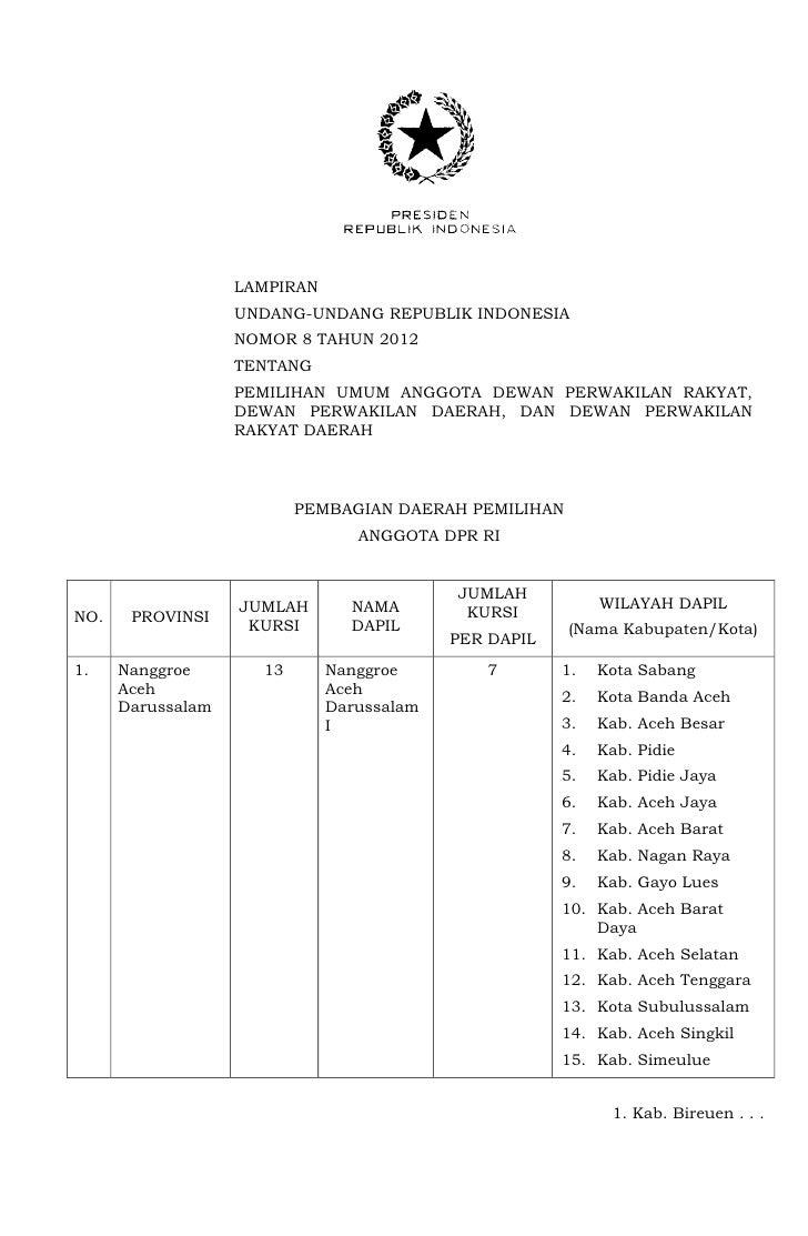 LAMPIRAN                   UNDANG-UNDANG REPUBLIK INDONESIA                   NOMOR 8 TAHUN 2012                   TENTANG...