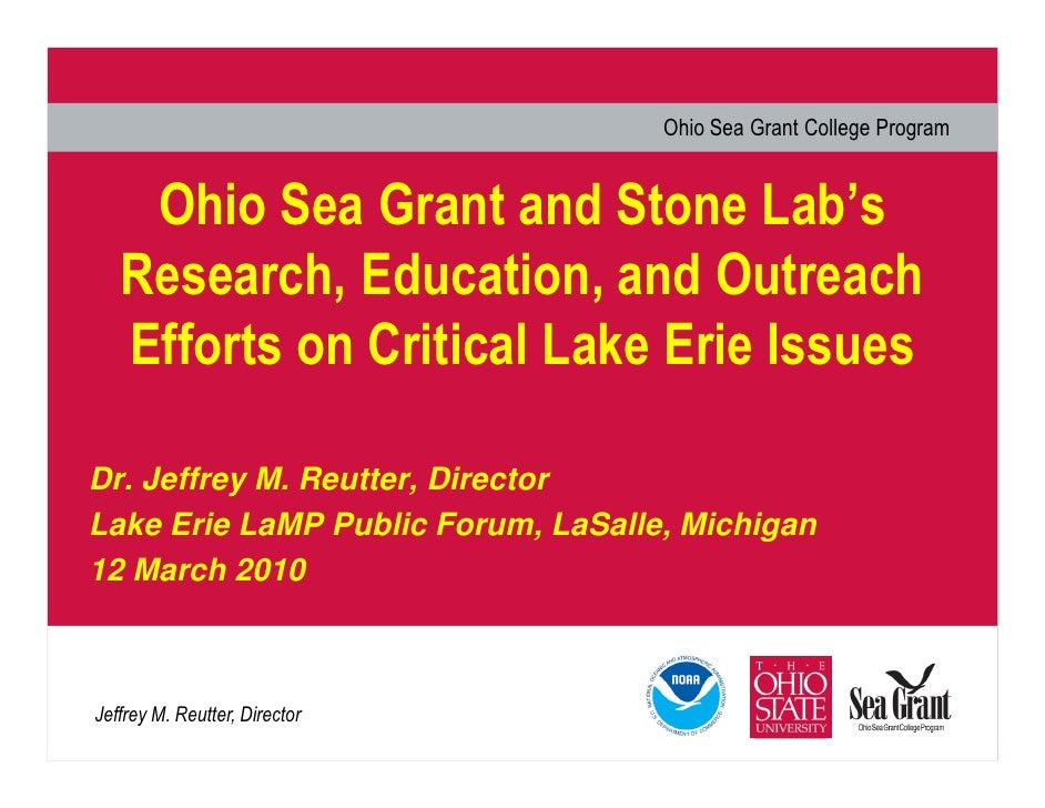 Ohio Sea Grant College Program       Ohio Sea Grant and Stone Lab's    Research, Education, and Outreach    Efforts on Cri...