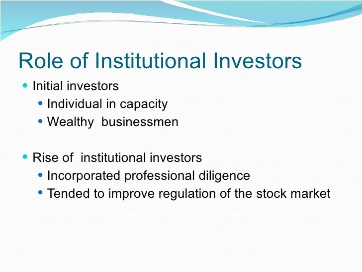 the role of institutional investors in corporate governance: an empirical investigation