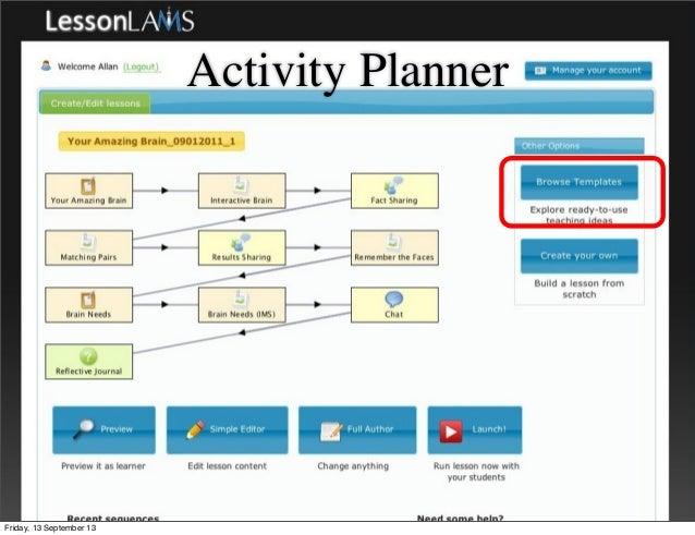 Activity Planner Friday, 13 September 13