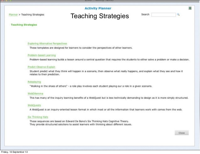 Teaching Strategies Friday, 13 September 13