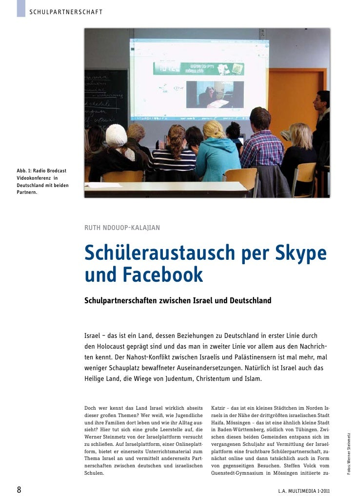 Schulpart ner schaf tAbb. 1: Radio BrodcastVideokonferenz inDeutschland mit beidenPartnern.                         Ruth N...