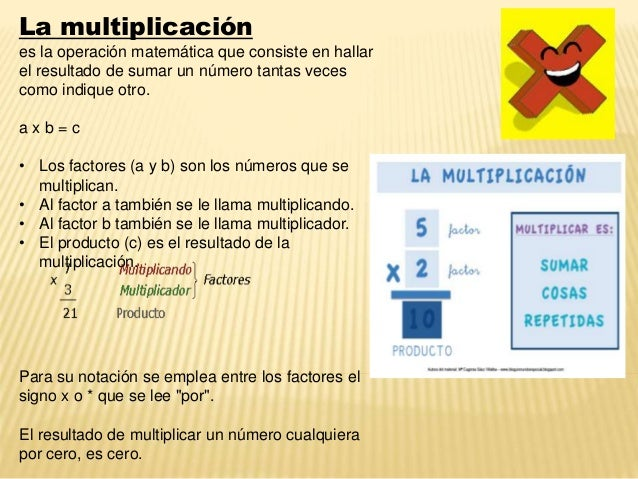 La multiplicación es la operación matemática que consiste en hallar el resultado de sumar un número tantas veces como indi...