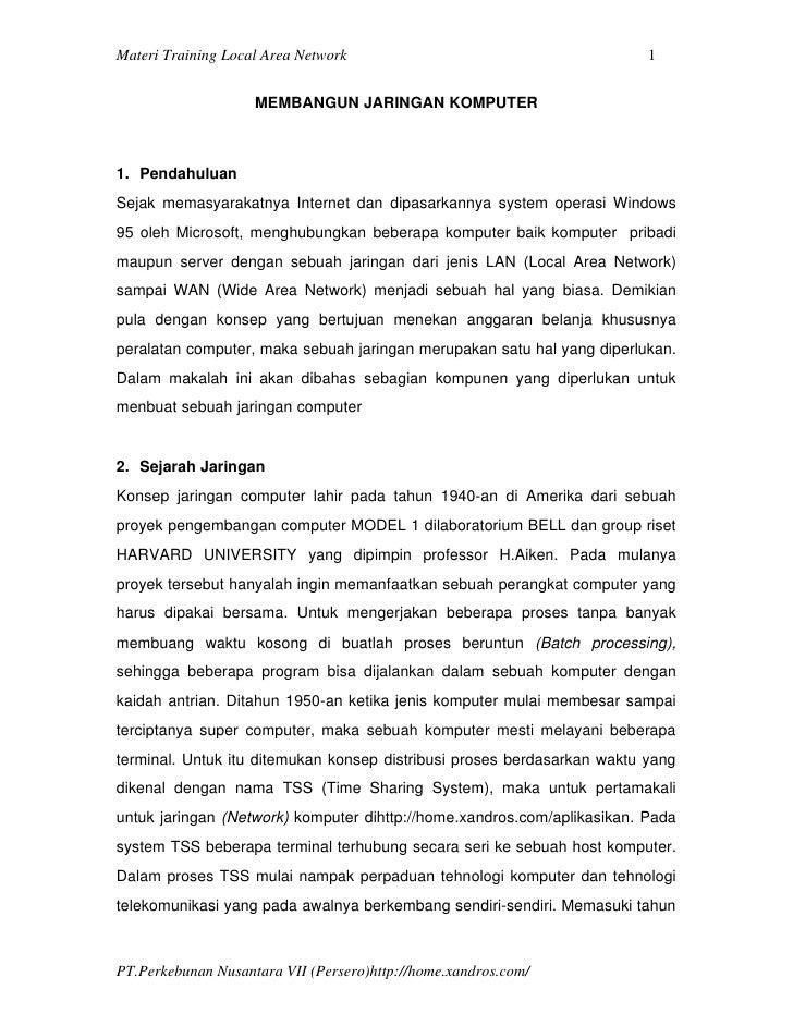 Materi Training Local Area Network                                       1                    MEMBANGUN JARINGAN KOMPUTER1...